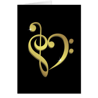 Treble clef and bass clef music heart love card