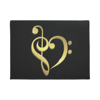 Treble clef and bass clef music heart love doormat