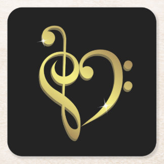 Treble clef and bass clef music heart love square paper coaster