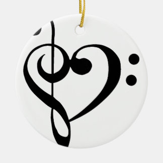 Treble Clef Base Clef Heart Ceramic Ornament