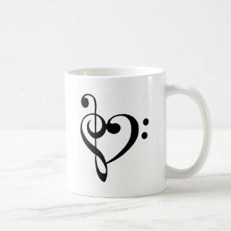 Treble Clef Base Clef Heart Coffee Mug