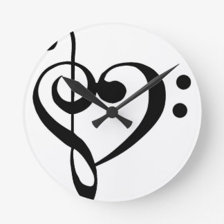 Treble Clef Base Clef Heart Round Clock