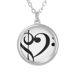 Treble Clef Base Clef Heart Silver Plated Necklace