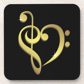Treble clef, bass clef music heart love coaster