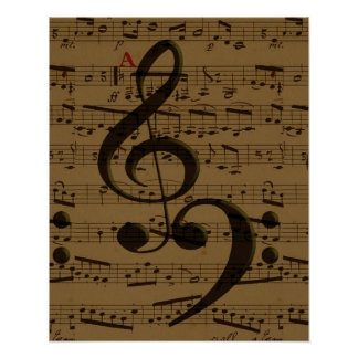 Treble Clef Bass sheet music Poster
