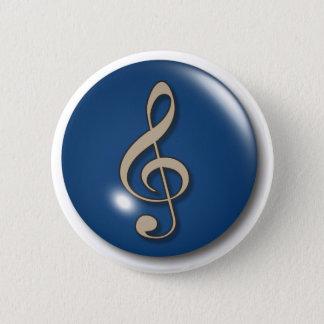 Treble Clef Blue Background 2 Inch Round Button
