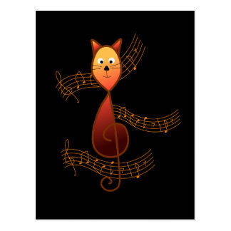 Treble Clef Cat Postcard