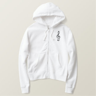 treble clef embroidered hoodie