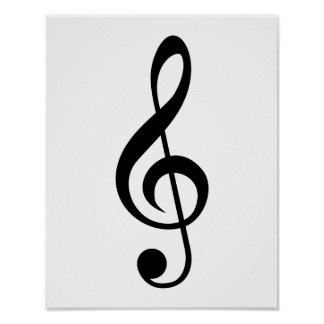 Treble Clef G-Clef Musical Symbol Posters