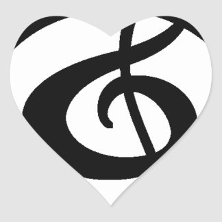 Treble clef heart sticker