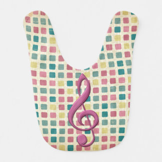 Treble Clef Mosaic Pattern Pink and Teal Bib