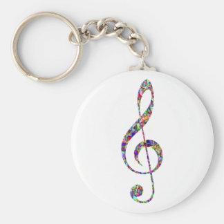 Treble Clef, multicolor, music Keychain