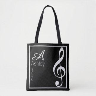 treble clef music black tote bag