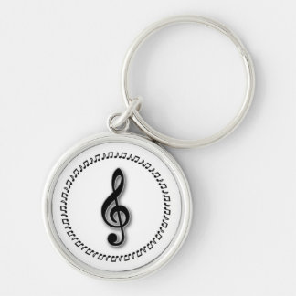 Treble Clef Music Note Design Keychain