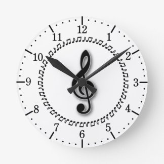 Treble Clef Music Note Design Wall Clock