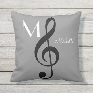 treble clef music note monogrammed gray throw pillow