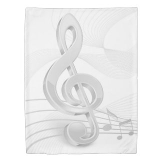 Treble Clef Music Notes (1 side) Twin Duvet Cover