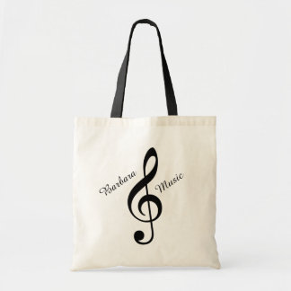 treble clef music tote bag with custom name