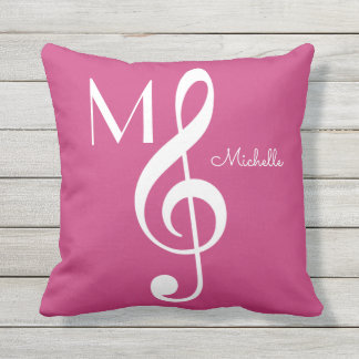 treble clef musical note monogrammed pink throw pillow