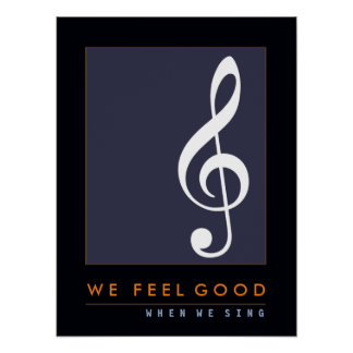 treble clef musical note, sing, music inspired poster