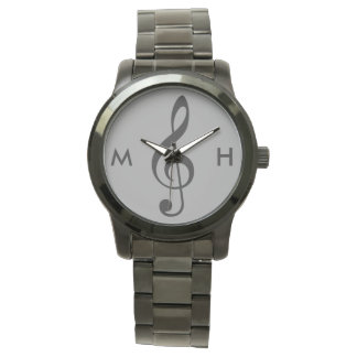 treble clef musician personalized initials watch
