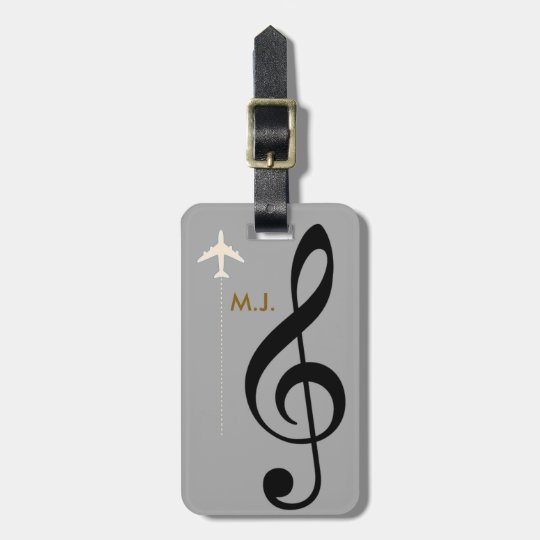 treble clef musician travel luggage tag
