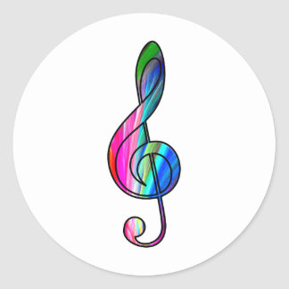 Treble clef note in color_ classic round sticker