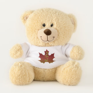 Treble Clef Overlaying Red Maple Leaf Teddy Bear