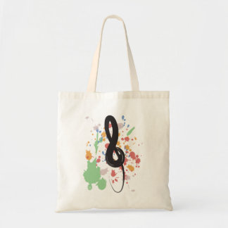 Treble Clef Paint Spatter Tote Bag