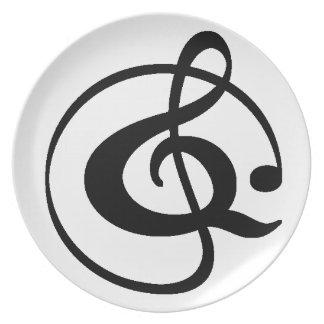 Treble clef plate