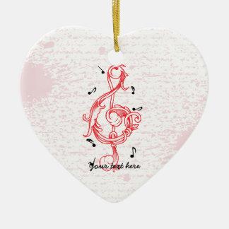 Treble clef red scrollwork sol note key ceramic heart ornament