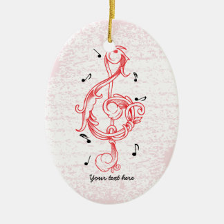 Treble clef red scrollwork sol note key ceramic oval ornament