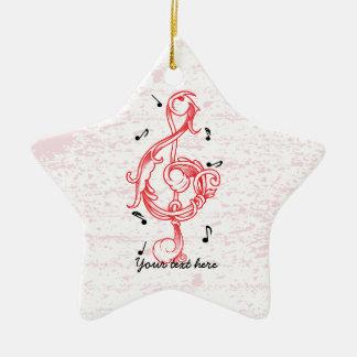 Treble clef red scrollwork sol note key ceramic star ornament