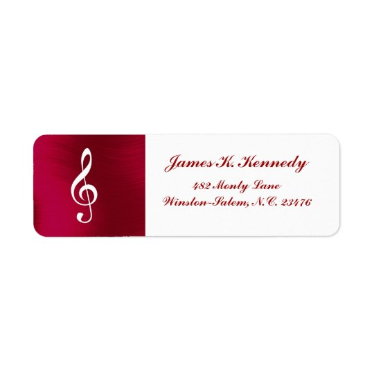 TREBLE CLEF -RETURN ADDRESS  LABEL RETURN ADDRESS LABEL