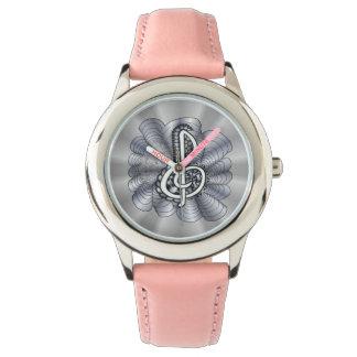 Treble Clef Silver Customizable Wrist Watch