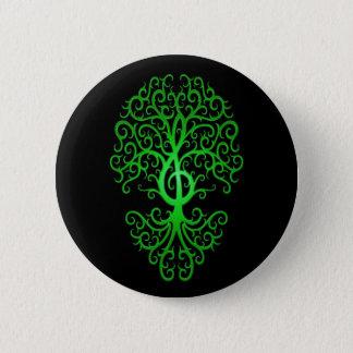 Treble Clef Tree, green & black 2 Inch Round Button