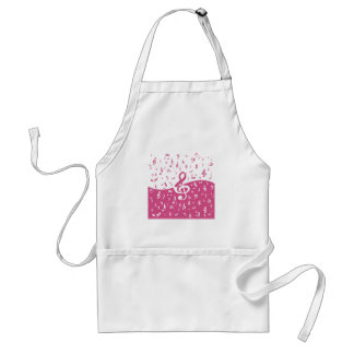 Treble Clef Wave Music Notes in Pink and White Standard Apron