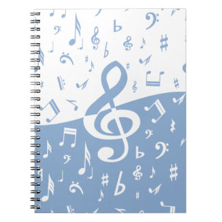 Treble Clef Wave Sky Blue and White Note Books