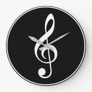 Treble Clef: White on Black Large Clock