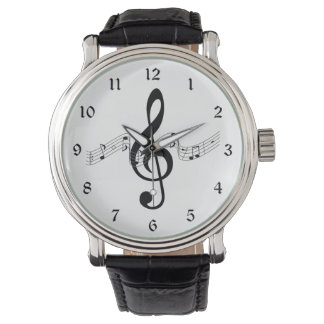 Treble Clef with Music Notes in Black and White Watch
