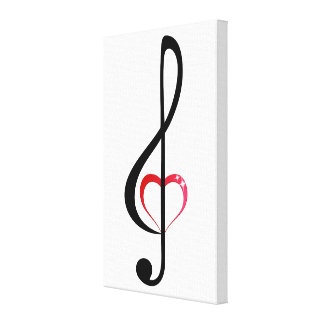 Treble clef with shiny pink heart canvas print