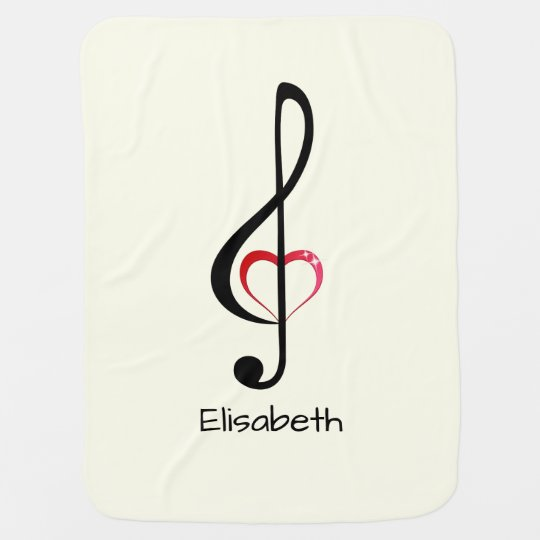 Treble clef with shiny pink heart name baby stroller blanket