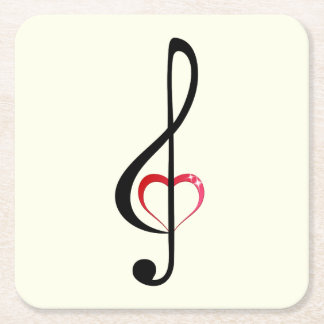Treble clef with shiny pink heart square paper coaster