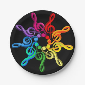 Treble Clefs In A Pattern Paper Plates