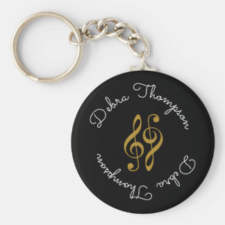 treble clefs with musician full name personalized keychain