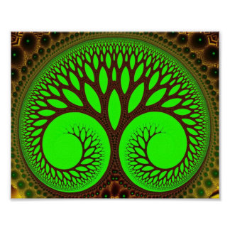 Tree 2  Fine Green Fractal Art Poster