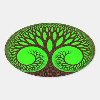 Tree 2 Fractal Art Oval Sticker