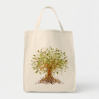 Tree - Abstract 3 Grocery Tote Bag