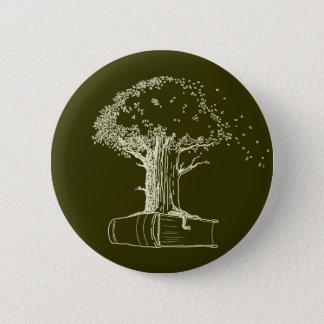 Tree and a book 2 inch round button