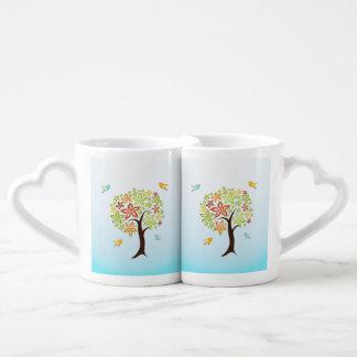 Tree and birds coffee mug set